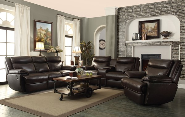 Macpherson Motion Cocoa Bean Leather Match Living Room Set CST-601811-BNDL