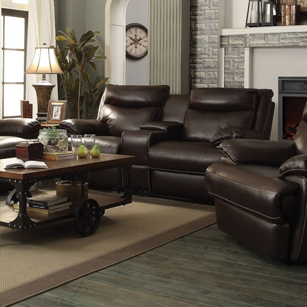 Macpherson Motion Cocoa Bean Leather Match Loveseats w/Console CST-601812-P-VAR