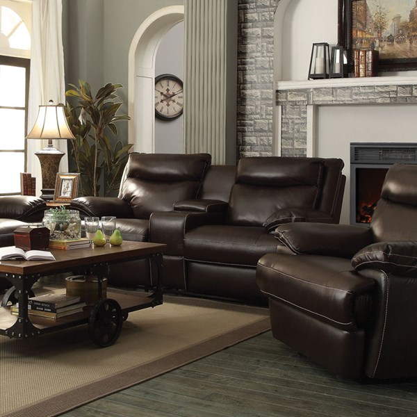 Macpherson Motion Cocoa Bean Leather Match Power Loveseat w/Console CST-601812P