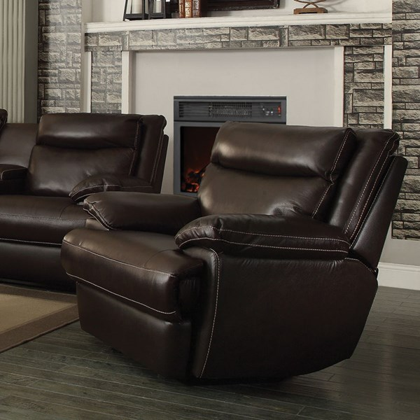 Macpherson Motion Cocoa Bean Leather Match Power Glider Recliner CST-601813P