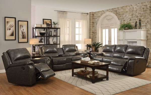 Wingfield Motion Charcoal Leather Match 3pc Living Room Sets CST-601821-VAR