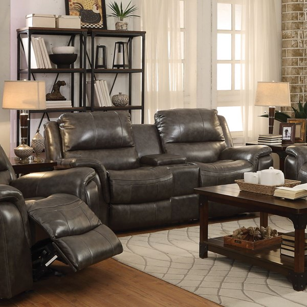 Wingfield Motion Charcoal Leather Match Loveseat w/Console CST-601822