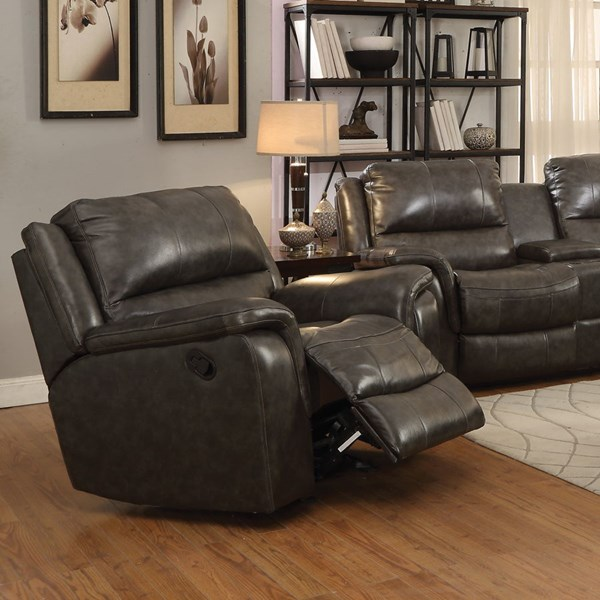 Wingfield Motion Charcoal Leather Match Glider Recliner CST-601823