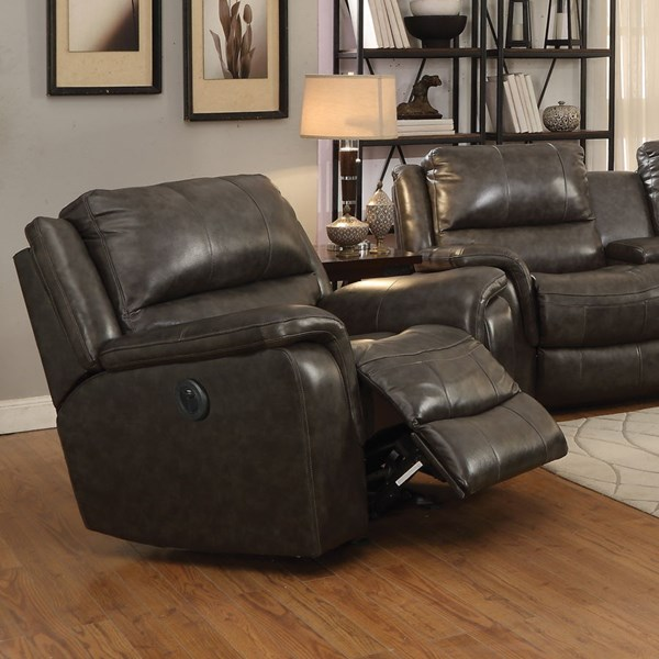 Wingfield Motion Charcoal Leather Match Power Glider Recliner CST-601823P