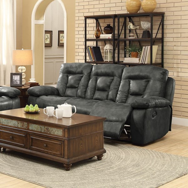 Evensky Charcoal Microfiber Pillow Top Arms & Cushion Back Motion Sofa CST-601867