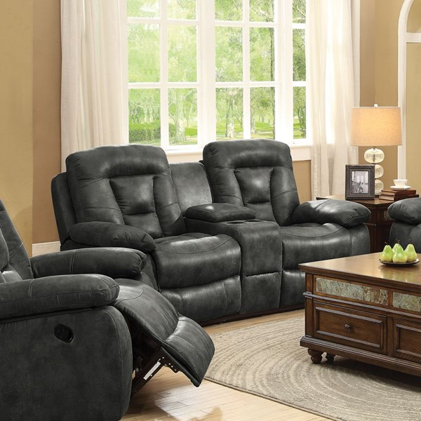 Evensky Motion Charcoal Microfiber Loveseat w/Console CST-601868