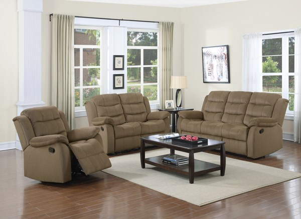 Rodman Motion Tan Velvet 3pc Living Room Set CST-601884-85-86