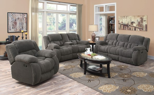 Weissman Motion Charcoal Fabric 3pc Living Room Set CST-601921-22-23