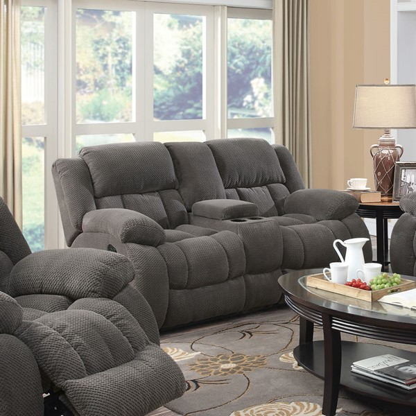 Weissman Motion Charcoal Fabric Loveseat w/Console CST-601922