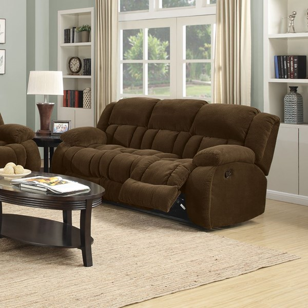 Coaster Furniture Weissman Motion Brown Fabric Motion Reclining Sofa CST-601924