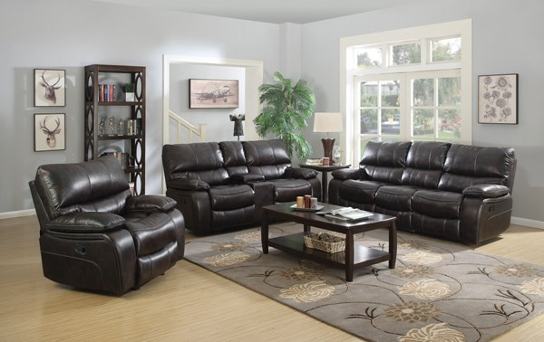 Willemse Motion Dark Brown Leatherette 3pc Living Room Set CST-601931-32-33
