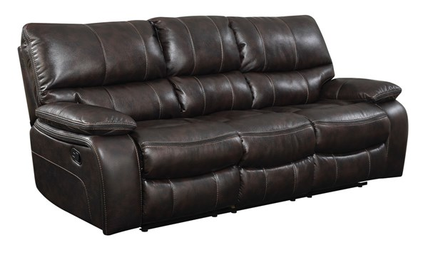 Coaster Furniture Willemse Motion Dark Brown Leatherette Sofa CST-601931