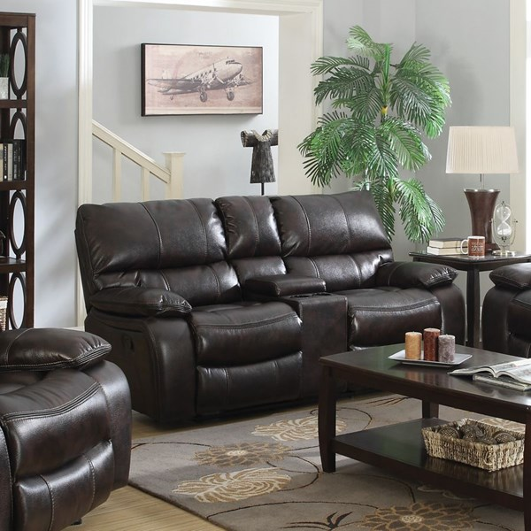 Willemse Motion Dark Brown Leatherette Loveseat w/Console CST-601932
