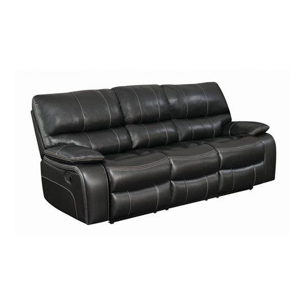 Coaster Furniture Willemse Black Faux Leather Wood Motion Sofa CST-601934