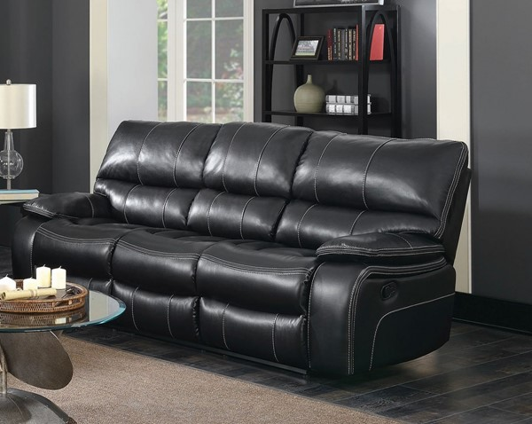 Coaster Furniture Willemse Black Faux Leather Wood Motion