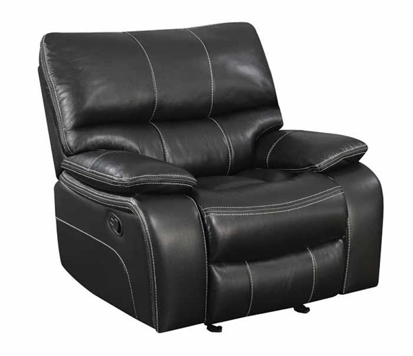 Coaster Furniture Willemse Black Faux Leather Wood Glider Recliner CST-601936