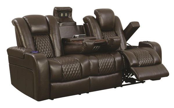 Coaster Furniture Delangelo Brown Power Motion Sofa CST-602304P