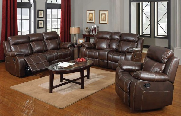 Myleene Chestnut Bonded Leather 3pc Living Room Set CST-603021-S