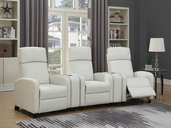 Coaster Furniture Amelia White Faux Leather 5pc Home Theater Set CST-60318-SEC