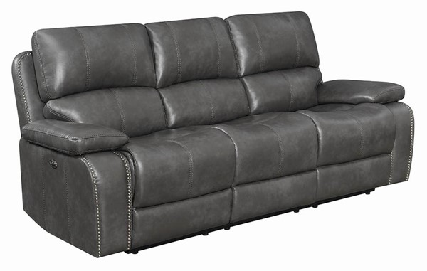 Coaster Furniture Ravenna Charcoal Faux Leather Power Sofa CST-603211P