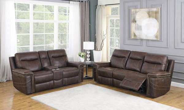Coaster Furniture Wixom Brown 2pc Power2 Living Room Set CST-60351-LR-S1