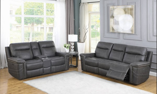 Coaster Furniture Wixom Charcoal 2pc Power2 Living Room Set CST-60351-LR-S2