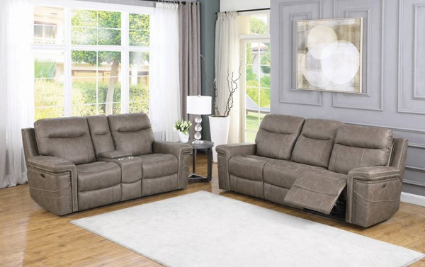 Coaster Furniture Wixom Taupe 2pc Power2 Living Room Set CST-60351-LR-S3