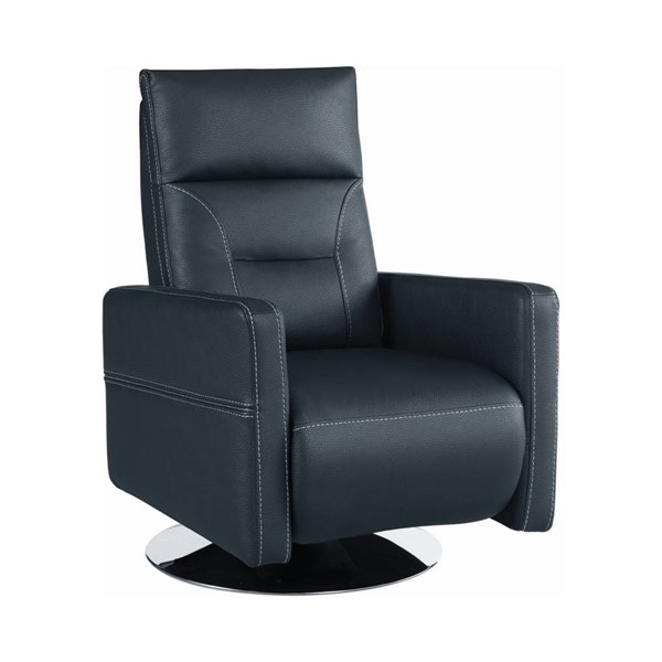 Coaster Furniture Contemporary Ink Blue Swivel Push-Back Recliner CST-609008