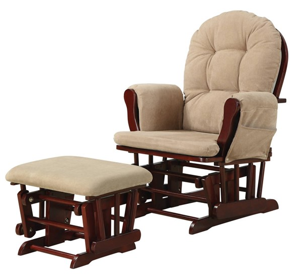 Coaster Furniture Tan Fabric Glider and Ottoman Set CST-650010