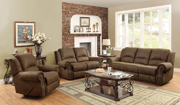 Sir Rawlinson Traditional Brown Coated Microfiber 3pc Living Room Set CST-650151LS3