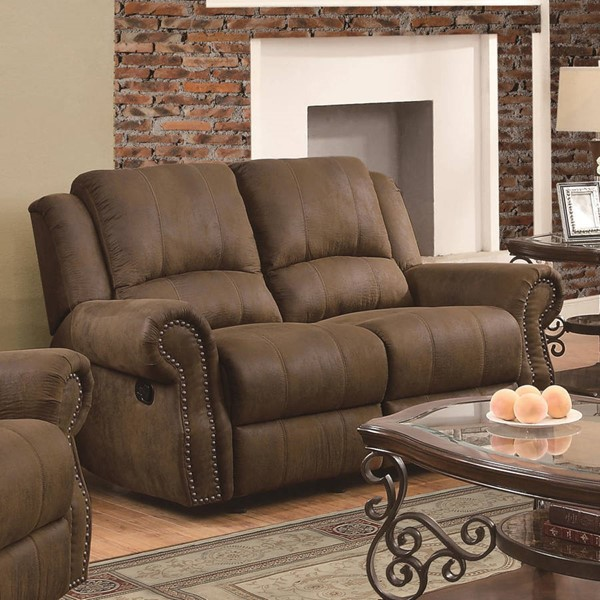 Sir Rawlinson Brown Coated Microfiber Motion Loveseat With 2 Glider CST-650152