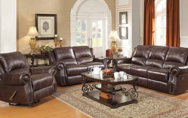 Sir Rawlinson Traditional Burgundy Brown 3pc Living Room Set CST-650161-S-SET