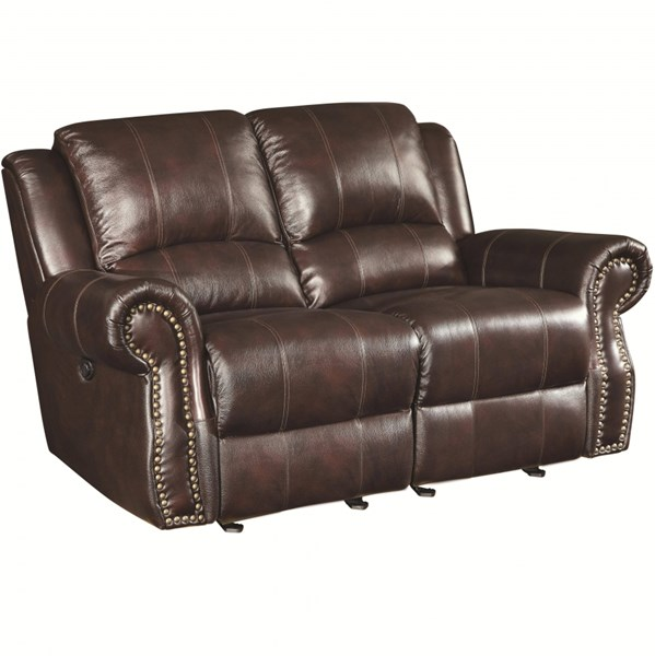 Sir Rawlinson Burgundy Brown Faux Leather Motion Love Seat W/2 Gliders CST-650162