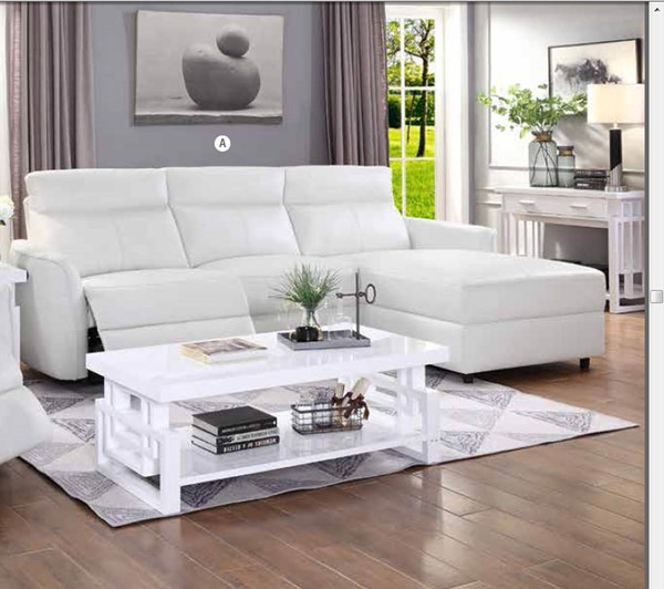Coaster Furniture Cecelia White Power Sectional CST-650190PP