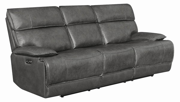 Coaster Furniture Stanford Charcoal Grain Leather Bluetooth Sofa CST-650221PPB