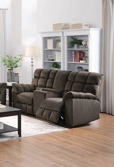 Coaster Furniture Hershey Chocolate Motion Loveseat with Console CST-650242
