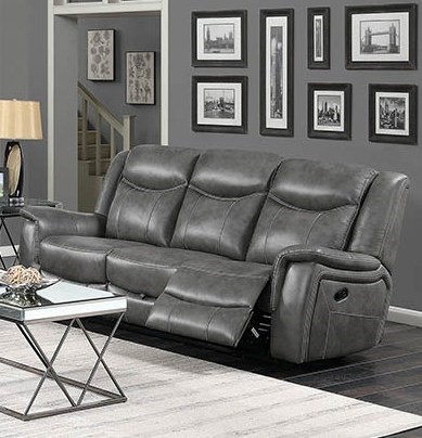 Coaster Furniture Conrad Grey Faux Leather Motion Sofa | The Classy Home