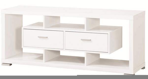 Contemporary White Wood TV Console W/2 Drawers & Open Shelves CST-700113