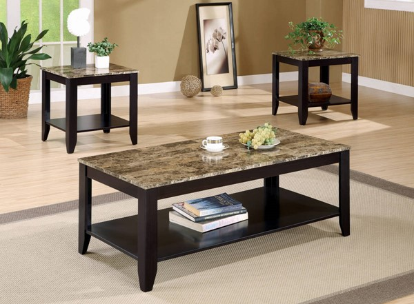 Coaster Furniture Cappuccino Faux Marble Top 3 In 1 Pack CST-700155