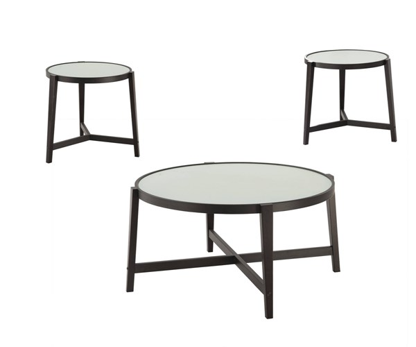 Transitional Espresso Wood Legs Frosted Glass Top 3pc Coffee Table Set CST-700180