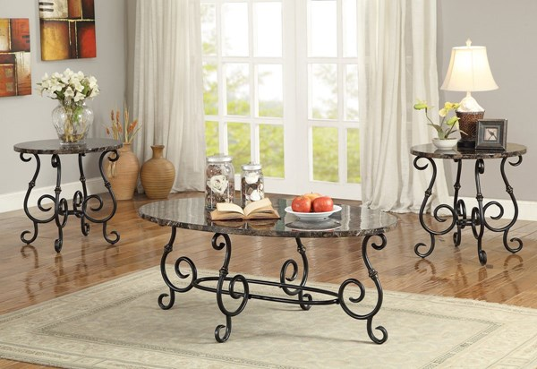 Black Faux Marble Metal 3pc Occasional Table Set CST-700187