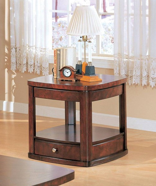 Transitional Merlot Wood End Table w/Drawer CST-700247