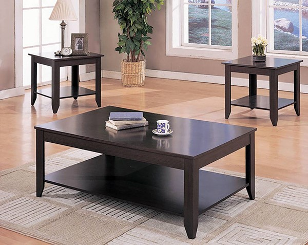 Coaster Furniture Cappuccino Rectangle 3pc Coffee Table Set CST-700285