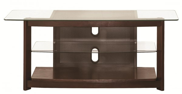 Coaster Furniture Brown Wood Glass TV Console with Open Shelves CST-700321