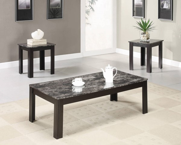 Coaster Furniture Black Faux Marble Top 3pc Coffee Table Set CST-700375