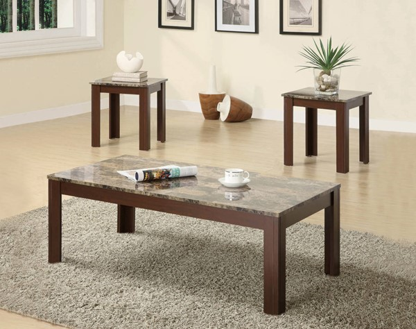 Coaster Furniture Brown Faux Marble Top 3pc Coffee Table Set CST-700395