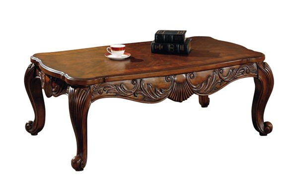 Traditional Deep Brown Wood Rectangle Coffee Table CST-700468