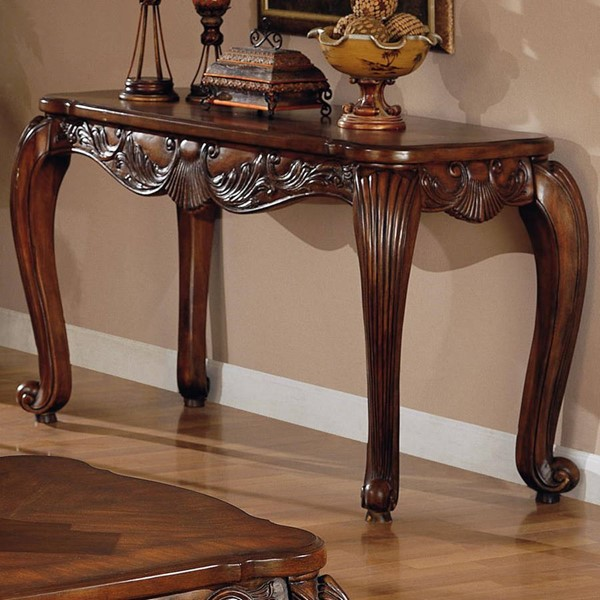 Traditional Deep Brown Wood Rectangle Sofa Table CST-700469
