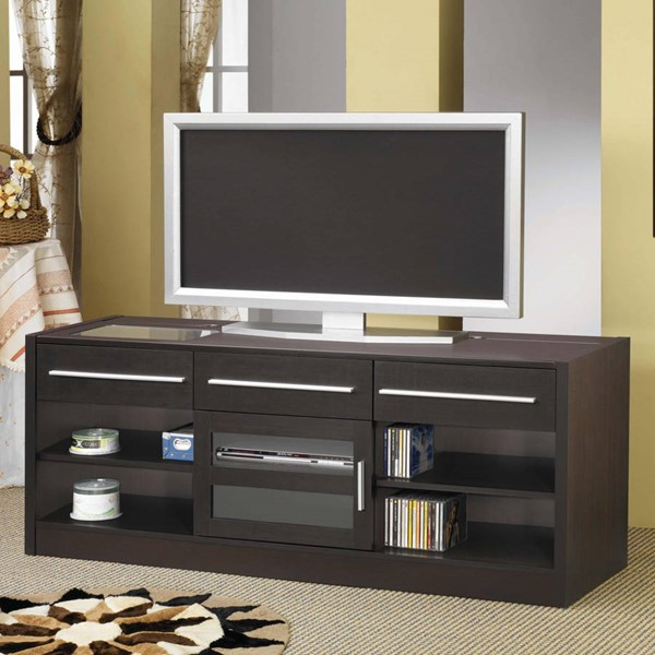 Contemporary Cappuccino Wood 3 Shelf TV Stand/Armoire CST-700650