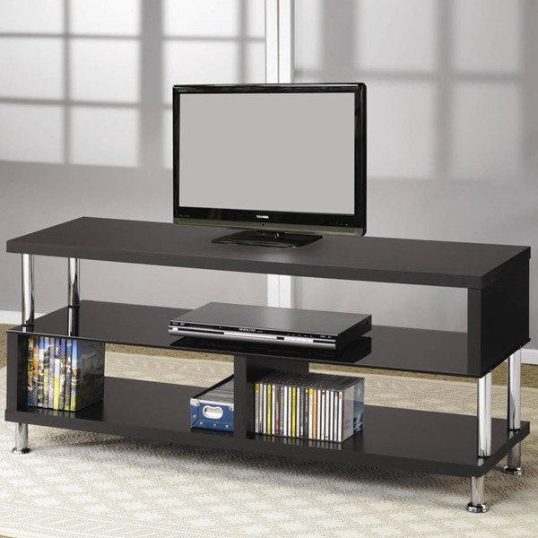 Coaster Furniture Black Chrome Metal Glass TV Stands CST-700652